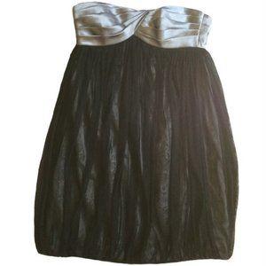 London Times Grey Black Empire Waist Babydoll Tulle Skirt Dress Size 10